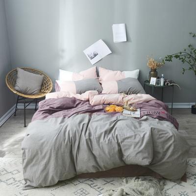2019新款-春秋款四件套(享受生活) 1.2m(4英尺)床 享受生活-灰紫