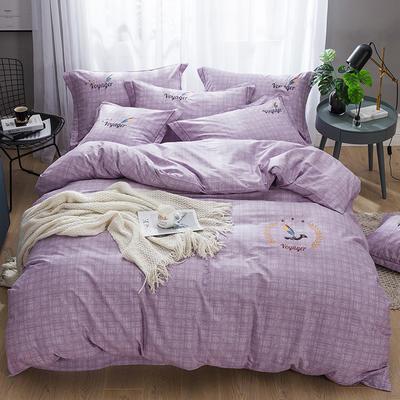 2019新款-纯棉刺绣四件套 1.8m(6英尺)床 典雅麦穗 紫