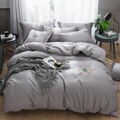 2019新款-纯棉刺绣四件套 1.8m(6英尺)床 欧陆世家 灰