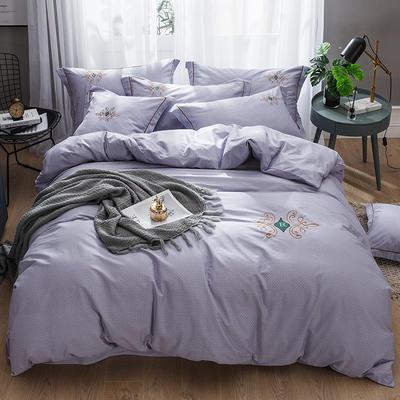 2019新款-纯棉刺绣四件套 1.8m(6英尺)床 欧陆世家 紫