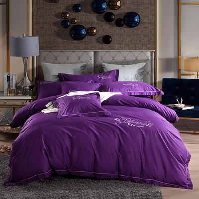 2019新款-60长绒棉绣花款四件套 1.5m(5英尺)床 罗宾-紫色
