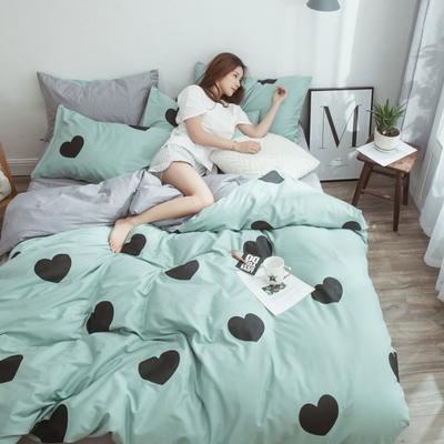 2019新款-13372纯棉四件套 三件套1.2m(4英尺)床 爱的时光-兰