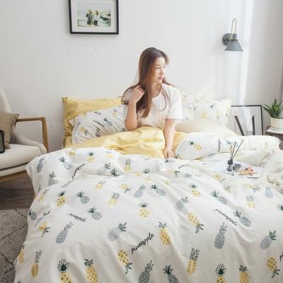 2019新款-13372纯棉四件套 床笠款1.5m(5英尺)床 菠萝滋味