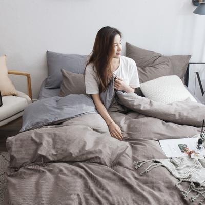 2019新款-13372纯棉四件套 三件套1.2m(4英尺)床 迷你格-黄