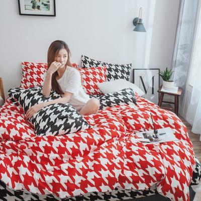 2019新款-13372纯棉四件套 三件套1.2m(4英尺)床 千鸟格-红