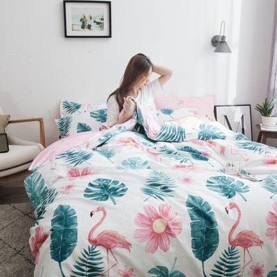 2019新款-13372纯棉四件套 床笠款1.5m(5英尺)床 热带雨林