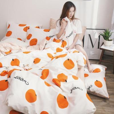 2019新款-13372纯棉四件套 2.0m(6.6英尺)床 甜心-桔
