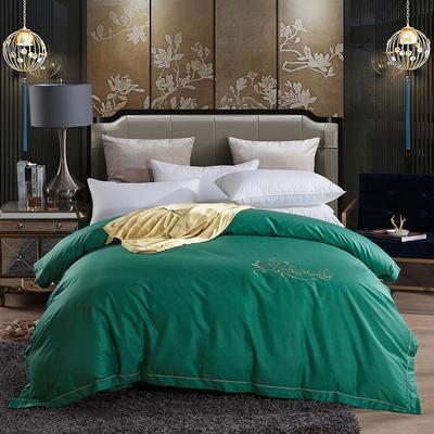 2019新款-60长绒棉绣花款单品被套 枕套/一对 罗宾-玛瑙绿