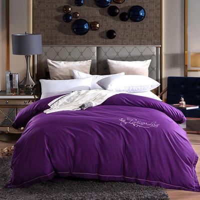 2019新款-60长绒棉绣花款单品被套 枕套/一对 罗宾-紫色