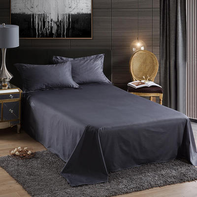 2019新款-60长绒棉单品床单 160*250cm 罗宾-灰色