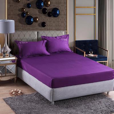 2019新款-60长绒棉单品床笠 150cmx200cm 罗宾-紫色