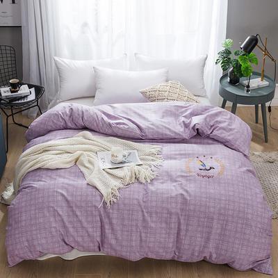 2019新款-纯棉刺绣被套 200X230cm 典雅麦穗 紫