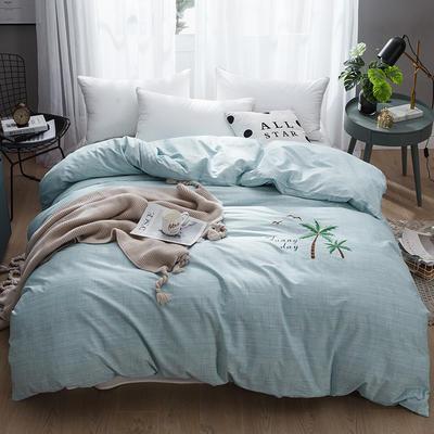 2019新款-纯棉刺绣被套 200X230cm 清爽椰树 绿