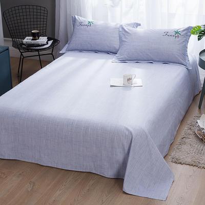 2019新款-纯棉床单 245cmx250cm 清爽椰树 浅紫