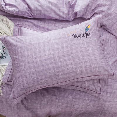 2019新款-纯棉刺绣枕套 48cmX74cm/一对 典雅麦穗 紫