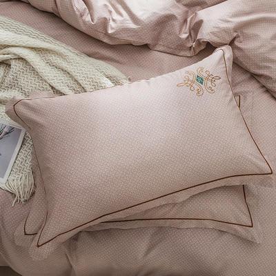 2019新款-纯棉刺绣枕套 48cmX74cm/一对 欧陆世家 咖