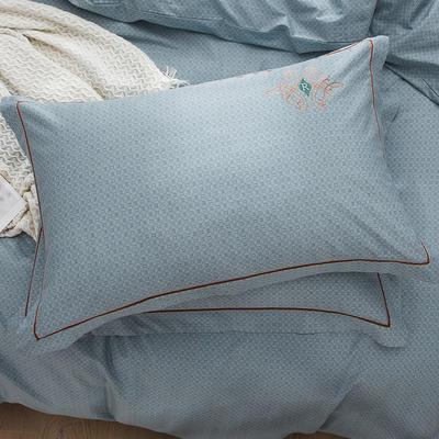 2019新款-纯棉刺绣枕套 48cmX74cm/一对 欧陆世家 蓝