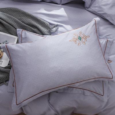 2019新款-纯棉刺绣枕套 48cmX74cm/一对 欧陆世家 紫