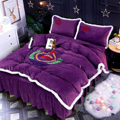 2019新款宝宝绒绣花床裙款四件套 1.5m床裙款 紫色