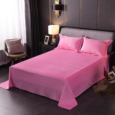 2019新款-蝶中皇后水晶绒压线款单床单 245cmx250cm 粉色