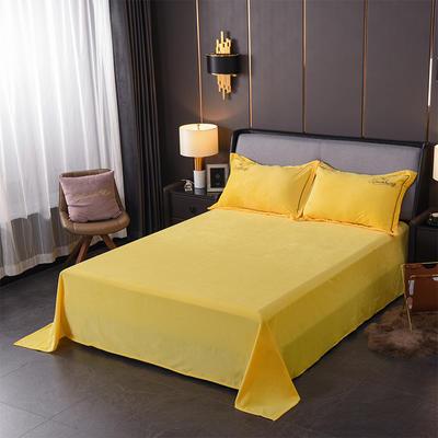 2019新款-蝶中皇后水晶绒压线款单床单 180cmx230cm 黄色