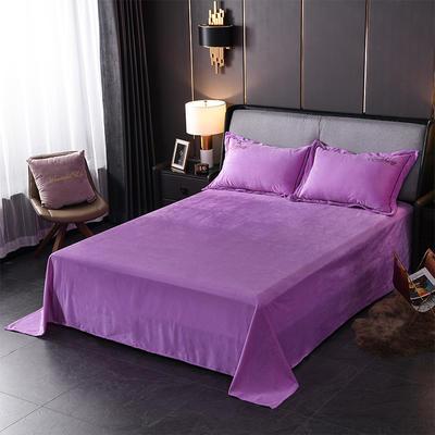 2019新款-蝶中皇后水晶绒压线款单床单 245cmx250cm 紫色