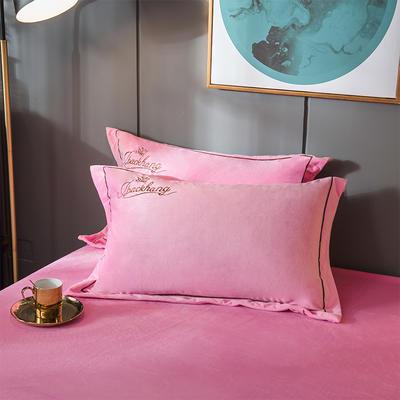 2019新款-蝶中皇后水晶绒压线款单枕套 48cmX74cm/一对 粉色