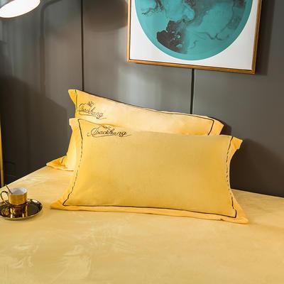 2019新款-蝶中皇后水晶绒压线款单枕套 48cmX74cm/一对 黄色