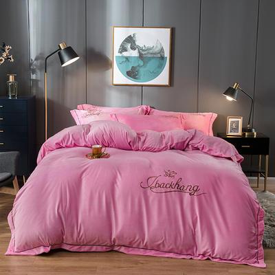 2019新款-蝶中皇后水晶绒压线款四件套 床单款三件套1.2m(4英尺)床 粉色