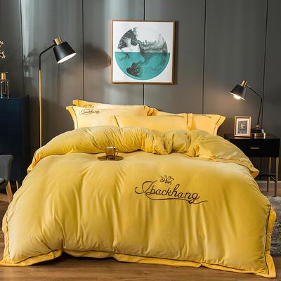 2019新款-蝶中皇后水晶绒压线款四件套 床单款四件套1.5m(5英尺)床 黄色