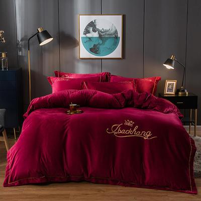 2019新款-蝶中皇后水晶绒压线款四件套 床单款四件套1.5m(5英尺)床 酒红