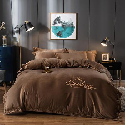 2019新款-蝶中皇后水晶绒压线款四件套 床单款四件套1.5m(5英尺)床 咖色