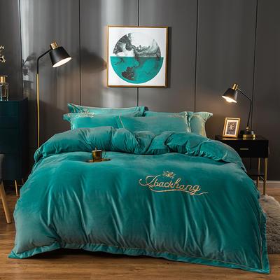 2019新款-蝶中皇后水晶绒压线款四件套 床单款四件套1.5m(5英尺)床 孔雀蓝