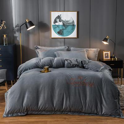 2019新款-蝶中皇后水晶绒压线款四件套 床单款三件套1.2m(4英尺)床 银灰