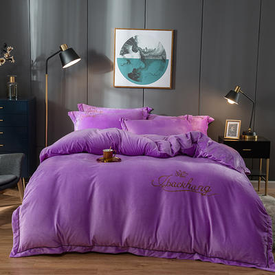 2019新款-蝶中皇后水晶绒压线款四件套 床单款四件套1.5m(5英尺)床 紫色