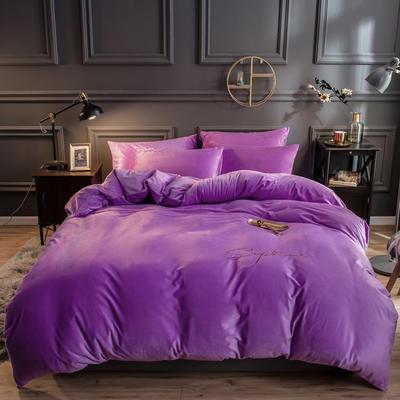 2019新款-简单生活双面水晶绒绣花款单被套 200X230cm 紫色