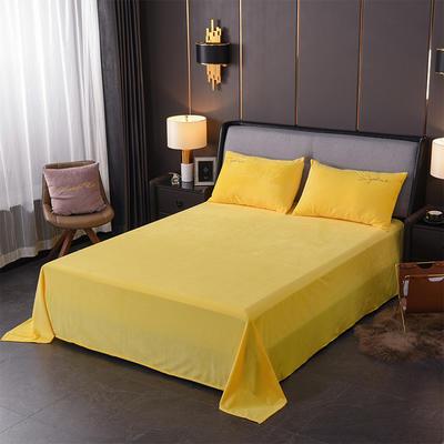 2019新款-简单生活双面水晶绒绣花款单床单 180cmx230cm 黄色