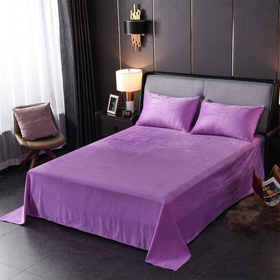 2019新款-简单生活双面水晶绒绣花款单床单 180cmx230cm 紫色