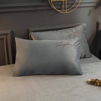 2019新款-简单生活双面水晶绒绣花款单枕套 48cmX74cm/一对 银灰