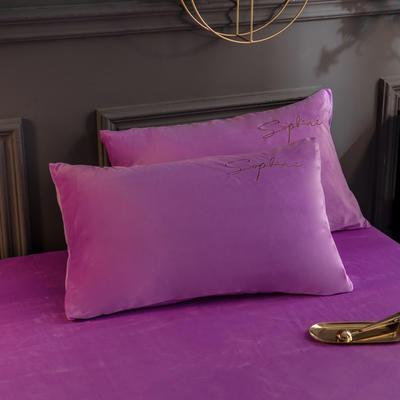 2019新款-简单生活双面水晶绒绣花款单枕套 48cmX74cm/一对 紫色