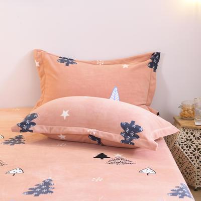 2019新款-牛奶绒单枕套 48cmX74cm/一对 木槿(玉)