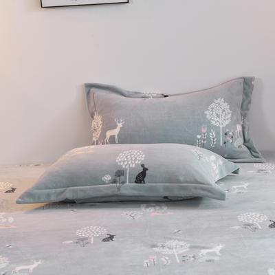 2019新款-牛奶绒单枕套 48cmX74cm/一对 穆夏(蓝)