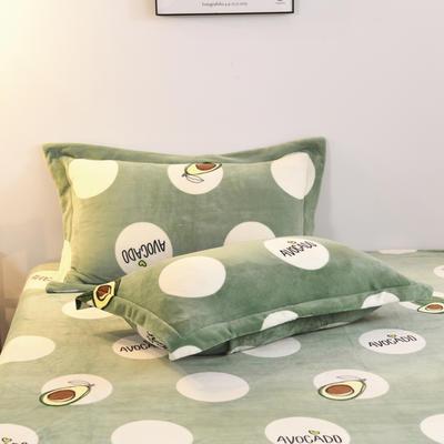 2019新款-牛奶绒单枕套 48cmX74cm/一对 牛油果(绿)