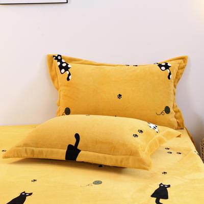 2019新款-牛奶绒单枕套 48cmX74cm/一对 小猫咪(黄)