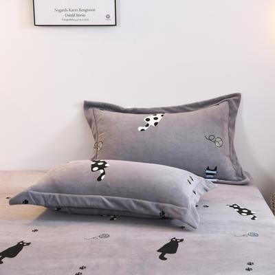 2019新款-牛奶绒单枕套 48cmX74cm/一对 小猫咪(灰)