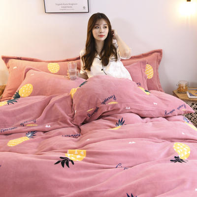 2019新款-牛奶绒四件套 床单款四件套1.5m(5英尺)床 菠萝(粉)