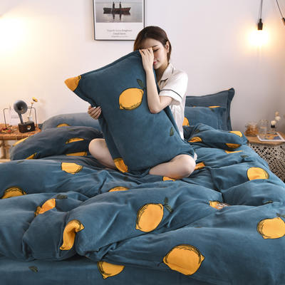 2019新款-牛奶绒四件套 床单款四件套1.5m(5英尺)床 果乐果香(蓝)