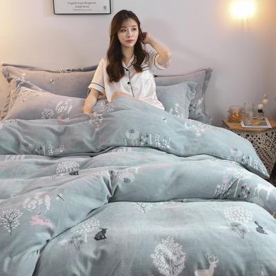 2019新款-牛奶绒四件套 床单款四件套1.5m(5英尺)床 穆夏(蓝)