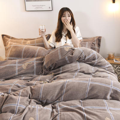2019新款-牛奶绒四件套 床单款三件套1.2m(4英尺)床 千寻(咖)