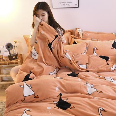 2019新款-牛奶绒四件套 床单款四件套1.5m(5英尺)床 顽皮鹅(桔)